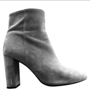 YSL gray suede boots